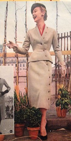 Christian Dior- 1952 Red silk taffeta blouse under a beige button down jacket and skirt suit. Elle- Les Collections Printemps 1952- No.327- March 3, 1952.