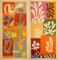 "'Vegetables' and ""Fleurs de neige""' watercolor and gouache on cut and pasted paper by Matisse, 174 x Met Pablo Picasso, Picasso And Braque, Henri Matisse, Matisse Cutouts, Picasso Paintings, Matisse Paintings, Spanish Art, Georges Braque, Art Moderne"
