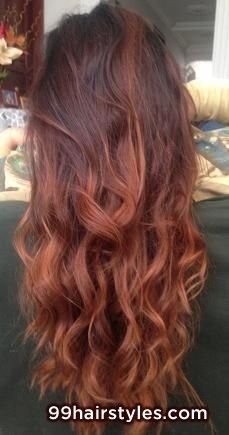 beautiful long curly red ombre hairstyle - 99 Hairstyles Ideas