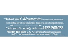 """This black or white 60"""" x 20"""" vinyl decal features an incredible explanation of how chiropractic works by our very own developer, B.J. Palmer."""