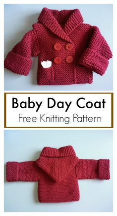 Sewing Projects For Baby Baby Day Coat Free Knitting Pattern - This Baby Day Coat Free Knitting Pattern is a cute and simple little baby coat. Make one now with the free pattern provided by the link below. Baby Boy Knitting Patterns Free, Baby Sweater Patterns, Baby Sweater Knitting Pattern, Knitted Baby Cardigan, Knit Baby Sweaters, Baby Pullover, Knitting For Kids, Free Knitting, Baby Knits