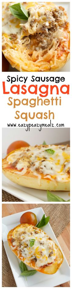 Spicy Sausage Lasagna Spaghetti Squash: A healthier and easier way to eat lasagna, this has so much flavor and just enough kick with the spicy sausage! - Eazy Peazy Mealz