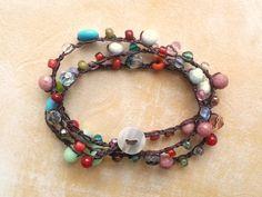 Southwestern Beaded Crochet Necklace Wrap by TamiLopezDesigns