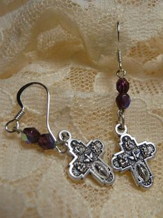 Four Way Cross Earrings by TheCatholicRosary on Etsy