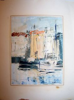 Signed Vintage Water Color Gouache Painting of by Artdecogirlshop, $25.00