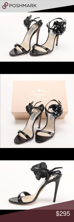"""Prada Floral Ankle-Wrap Sandal Floral Ankle-Wrap Sandal  Prada leather sandal with patent leather floral applique.  4.3"""" stiletto heel.  Strap bands open toe.  d'Orsay silhouette.  Adjustable ankle-wrap strap.  Smooth outsole.  Comes with extra heel lifts and box  Made in Italy.  Size 38 Prada Shoes Heels"""