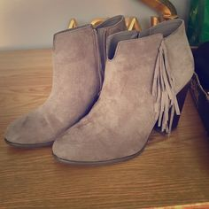 Fringe Booties Purchased these from Macy's worn a few times!! Super cute! Carlos Santana Shoes Ankle Boots & Booties