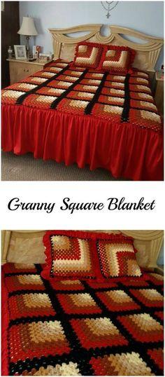 Crochet Mitered Granny Square Blanket - Pretty Ideas
