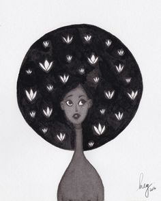 Inktober 10 / Afro-flower #illustration #drawing #cute #vegan #vegetarian #sketch #girl #characterdesign #flowers #inktober2017 #ink #inktober #indianink #afro #hair #portrait #megchikhani