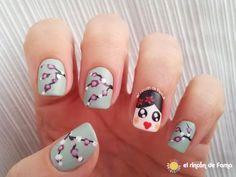 Geisha and Cherry Blossom nail art #manicure