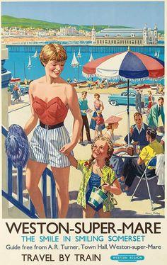 Vintage railway posters of UK seaside destinations - Weston-Super-Mare Posters Uk, Train Posters, Beach Posters, Railway Posters, Poster Prints, Retro Posters, British Travel, British Seaside, Vintage Advertisements