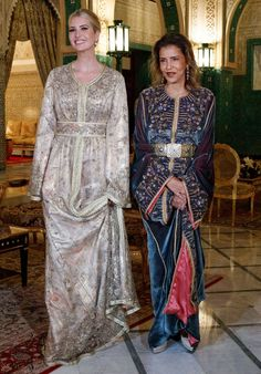 Princess Lalla Meryem, the sister of King Mohammed of Morocco, hosted a royal dinner in honor of Ivanka Trump All White Outfit, White Outfits, Cena Formal, Washington Dc Fashion, Ivanka Trump Style, Style Marocain, Gold Gown, Moroccan Caftan, First Daughter