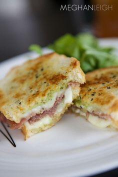 tasty tuesday- prosciutto and pesto panini- www.meghan-leigh.com/blog
