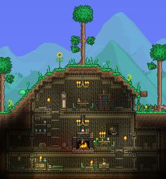Underground Terraria den. Reminds me of an extended Hobbit hole. #Terraria #Building