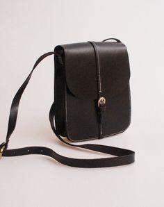 cba9215abf Handmade vintage black leather minimalist shoulder crossbody Bag for girl  women Crossbody Shoulder Bag