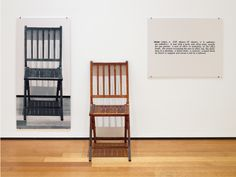 """3.211 Joseph Kosuth, """"One and Three Chairs"""", 1965. Mounted photograph of a chair, wooden folding chair, and photographic enlargement of a dictionary definition of """"chair,"""" photographic panel 36 × 24⅛"""", chair 32⅜ × 14⅞ × 20⅞"""", text panel 24 × 24⅛"""". (American)"""