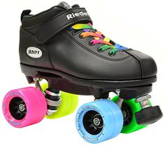 Speed Roller Skates - Riedell Dart Double Rainbow Quad Roller Derby Speed Skate w 2 Pair of Laces Rainbow  Black ** Continue to the product at the image link.