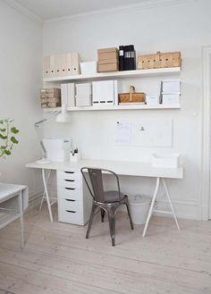 Desk using ikea Vika lergerg legs #ikea #office #tolix ~this is what I want soooo bad