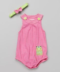 Another great find on #zulily! Fuchsia Frog Bodysuit & Headband - Infant by Duck Duck Goose #zulilyfinds