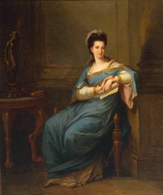 """Angelica Kauffmann, Portrait of a Lady, c. 1775 From the Tate Collection: """" The unknown woman in this portrait is seated in classical robes by a statue of Minerva, the goddess of wisdom. The book upon. Chur, Angelica Kauffmann, Rome, Sarah Lucas, Contemporary Poetry, Anna, Girl Reading, Art Uk, Vintage Prints"""