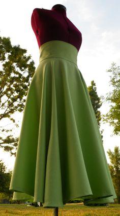 Long Full Light Green High Waist Skirt via Etsy