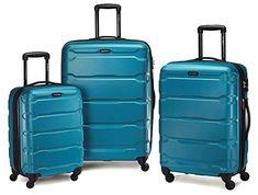 Samsonite Omni PC Hardside Spinner Luggage Set in Caribbean Blue Luggage Straps, Carry On Luggage, Travel Luggage, Luggage Deals, Best Luggage Brands, Luggage Reviews, Samsonite Luggage, Hardside Spinner Luggage, Carry On Size