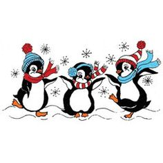 """Frolicking PenguinsRubber Stampby Great Impressions G347size 3.5 """"W x 1.75""""H These 3 Penguinsknow how to enjoy the cold Available mounted on wood or un-moun"""