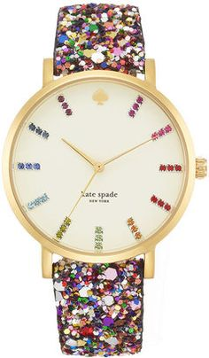 Kate Spade Watch, Women's Metro Grand Multi-Color Glitter Leather Strap
