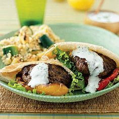 Mediterranean Burgers with Zucchini Couscous