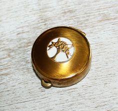 Round Cara Nome Rouge Langlois Inc Boston Gold Enamel Compact w Floral Basket | eBay