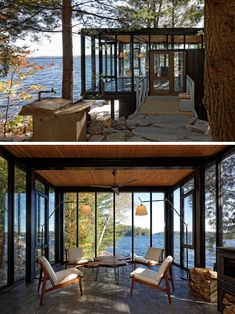 Window Ideas - This modern boat house has a small sitting area with black-framed, floor-to-ceiling windows and a fireplace.