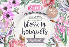 2 in 1. SAVE 50%! Watercolor flowers by Mikibith on @creativemarket