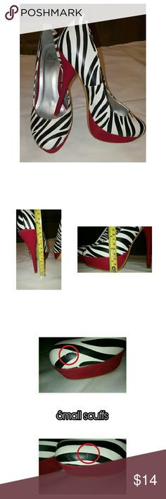Zebra print Stilettos w/ red platform Reposh Zebra print Stilettos trimmed with red faux velvet around platform as well as on the heels. Size 8 (runs true to size) found another pair I liked better so never wore these myself. They were in used condition when I purchased them. Good condition overall with minimal wear to them as pictured. Sheikh  Shoes Platforms