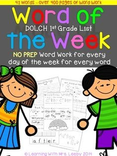 This product contains 5 days of FUN Word Work for each word in the Dolch First Grade list (41 words). This includes an original reader for each word. Check out the preview for specific examples and to check out the EASY printing and reference guide.