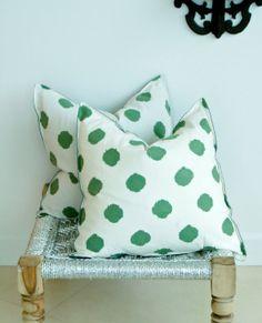 Indian Hand block Print Throw Pillows Green Polka Dot Print Cushion Covers Cotton and Organic Raw Linen 18x18 Pair