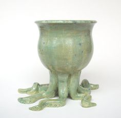This makes me smile!    Large Handmade Ceramic OCTOPOT Plant Pot FREE by JMNPOTTERY, $85.00