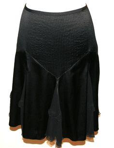 "DVF Diane Von Furstenberg Black Stretch Silk ""Sison"" Ruffled Hem Skirt"