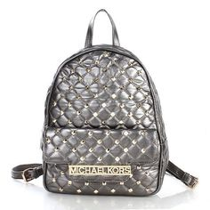 Michael Kors Kim Studded Leather Small Silver Backpacks