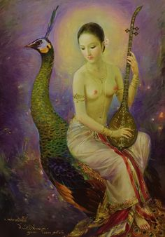 """Saraswati, goddess of knowledge, music, arts, wisdom and learning"", 2000, oil…"