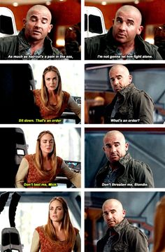 """""""Don't threaten me, Blondie"""" - Mick and Sara Legends Of Tommorow, Dc Legends Of Tomorrow, Supergirl Dc, Supergirl And Flash, Mick Rory, Dc Comics Series, Hero Tv, Leonard Snart, Arrow Tv Series"""