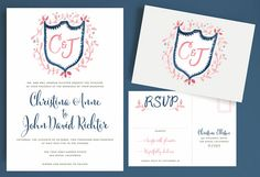 Watercolor Crest Wedding Invitation with Whimsical Hand-painted Heraldry by Leveret Paperie