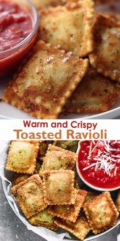 Toasted Ravioli, Football Food, Superbowl Food Ideas, Yummy Appetizers, Appetizer Recipes, Tasty Dishes, Food Dishes, Good Food, Yummy Food