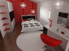 gray, black, red, and white bedroom