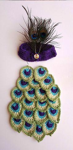 Crochet peacock cocoon blanket Baby by BellaFarfallaBoutiqu