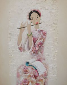 LADY WITH FLUTE (PHAN LINH BAO HANH)  OIL ON CANVAS