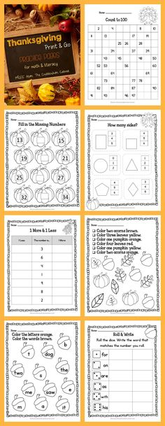 FREE Thanksgiving Print & Go Practice Pages for math & literacy practice | The Curriculum Corner | counting, reading