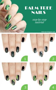 NailScope Palm tree nail art step-by-step tutorial