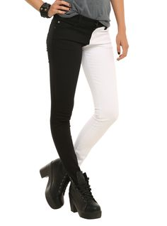 Royal Bones White And Black Split Leg Skinny Jeans | Hot Topic I need these in my life..