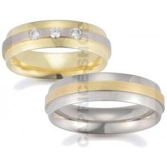 Gerstner wedding rings width:6 mm Color: yellow white yellow Number, cut and carats of diamonds: 3 briliant 0,15 carat Precious alloy type (at your choice): Gold 333‰ Gold 585‰ Gold 750‰ Palladium 950‰ Platinum 950‰