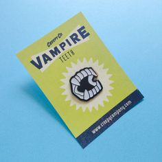 Vampire Teeth Enamel Pin - love the display card...